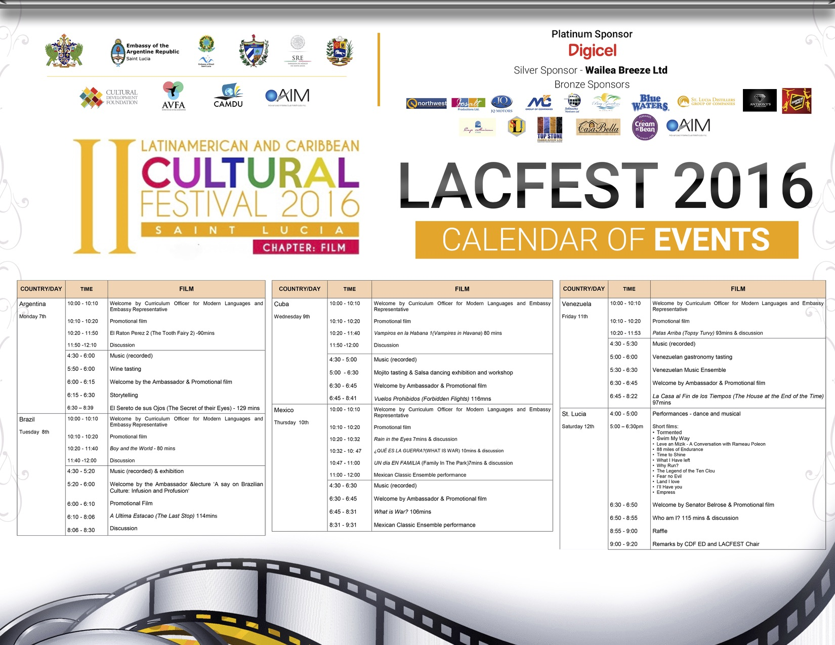 Event Calendar 2016 : Lacfest calendar of events released camdu st lucia